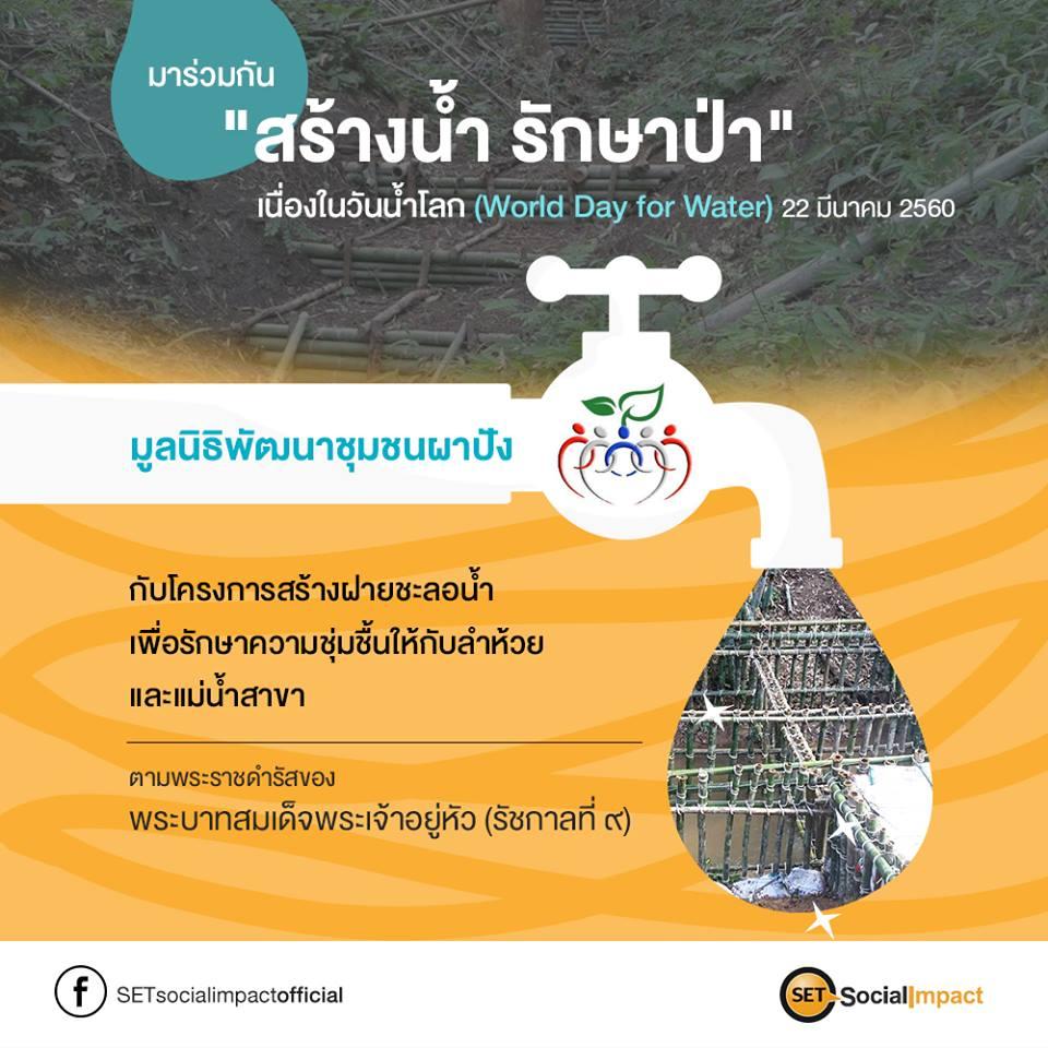 มาร่วมกัน สร้างน้ำ รักษาป่า เนื่องใน วันน้ำโลก ( World day for water ) กับ มูลนิธิพัฒนาชุมชนผาปัง