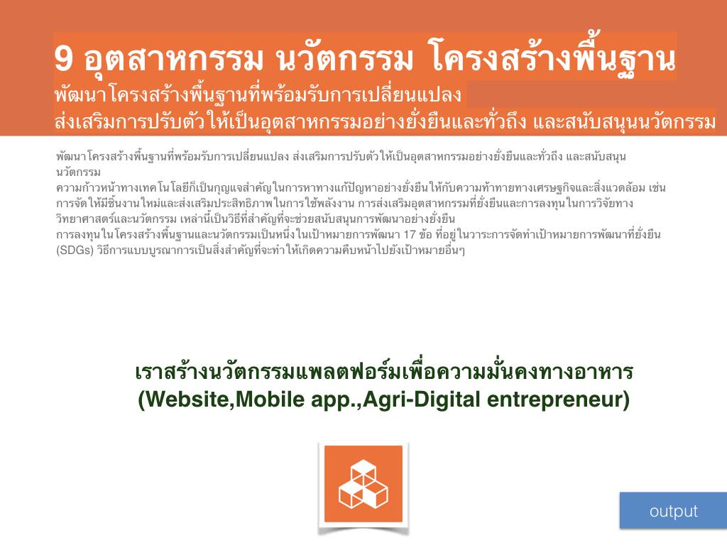 เราสร้างนวัตกรรมแพลตฟอร์มเพื่อความมั่นคงทางอาหาร(Website,Mobile app.,Agri-Digital entrepreneur)